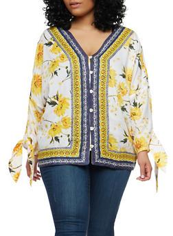 Plus Size Floral Button Front Top - 1803056120701