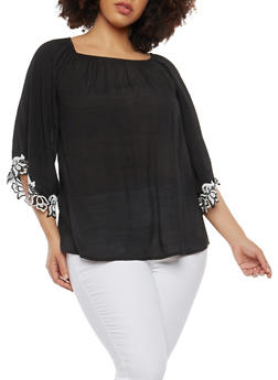 Plus Size Crochet Trim Peasant Top - 1803056122479