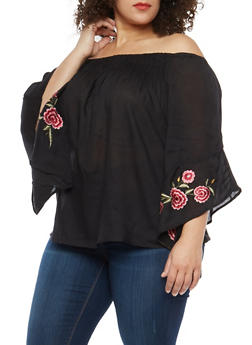 Plus Size Off the Shoulder Embroidered Bell Sleeve Top - 1803056122487
