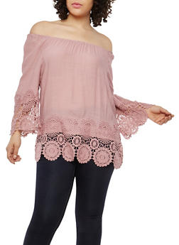 Plus Size Crochet Trim Top - 1803056122513