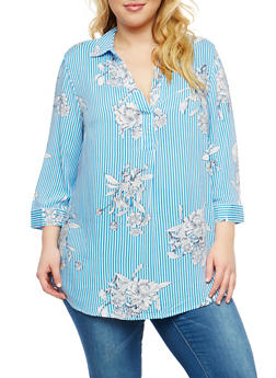 Plus Size Striped Floral Top - 1803056122578