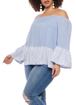 Plus Size Striped Off the Shoulder Lace Trim Top - 1803056122580