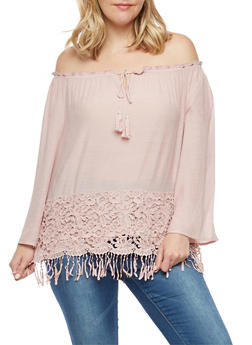 Plus Size Crochet Fringe Trim Off the Shoulder Top - 1803056122581