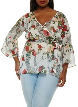 Plus Size Floral Faux Wrap Top - 1803056122734