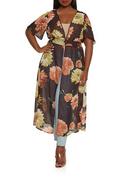 Plus Size Floral Button Front Duster - 1803056122776