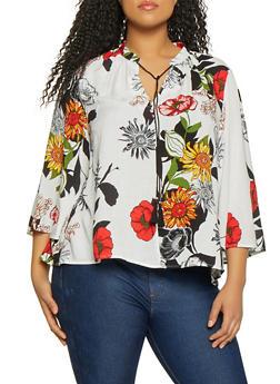 Plus Size Floral Tassel Tie Neck Blouse - 1803056123500