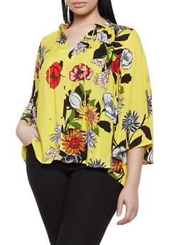 Plus Size Floral Tassel Tie Neck Blouse - 1803056123500