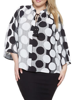Plus Size Polka Dot Striped Top - 1803056123502