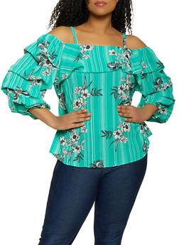 Plus Size Printed Ruched Sleeve Off the Shoulder Top - 1803056123506