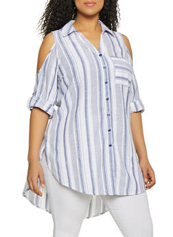 a55029c900861 Plus Size Striped Linen Cold Shoulder Tunic Shirt - 1803056123511