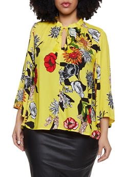 Plus Size Floral Tassel Tie Keyhole Top - 1803056123550