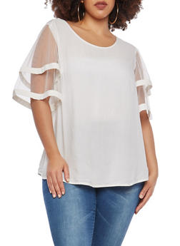 Plus Size Mesh Tier Sleeve Top - 1803056124256