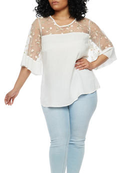 Plus Size Embroidered Mesh Top - 1803056124263