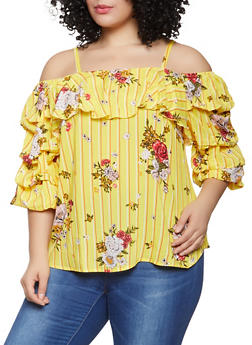 Plus Size Striped Floral Off the Shoulder Top - 1803056125022