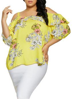 Plus Size Cold Shoulder Floral Top | 1803056125035 - 1803056125035