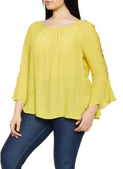 Plus Size Caged Bell Sleeve Blouse - 1803056125045