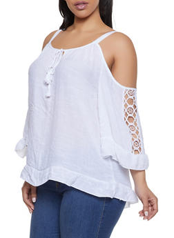 34d8bdedc5749 Plus Size Crochet Insert Cold Shoulder Top - 1803056125048