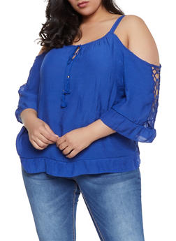 Plus Size Crochet Insert Cold Shoulder Top - 1803056125048