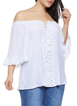 Plus Size Crochet Tassel Trim Off the Shoulder Top - 1803056125049