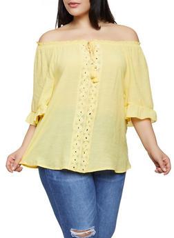 Plus Size Crochet Tassel Trim Off the Shoulder Top - 1803056125049
