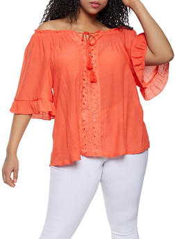 5e982a07add266 Plus Size Crochet Tassel Trim Off the Shoulder Top - 1803056125049