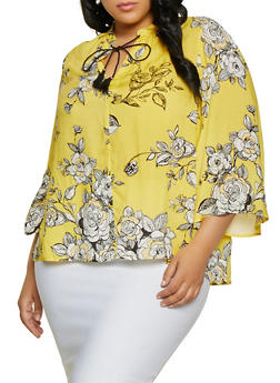 Plus Size Tassel Tie Neck Floral Top - 1803056125055