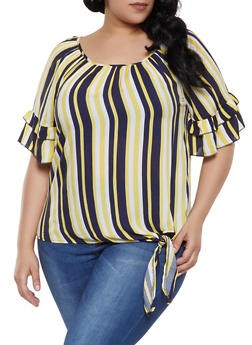 Plus Size Vertical Stripe Tiered Sleeve Top - 1803056125082