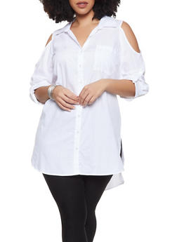 Plus Size Lace Up Back Cold Shoulder Shirt - 1803056125109