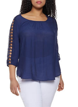 Plus Size Cut Out Sleeve Peasant Top - 1803056125506