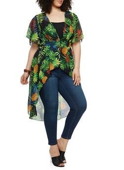 Plus Size Printed High Low Maxi Top - 1803056125596