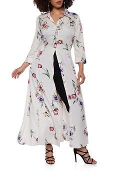 Plus Size Floral Satin Maxi Top - 1803056126371