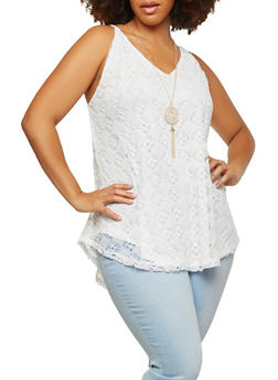 Plus Size Crochet Tank Top with Necklace - 1803058750108