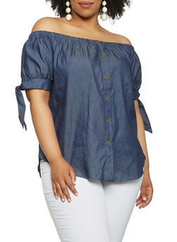 Plus Size Denim Off the Shoulder Top - 1803058750303