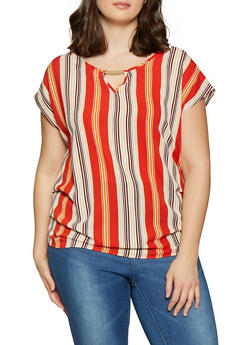 Plus Size Striped Crepe Knit Top - 1803058750484
