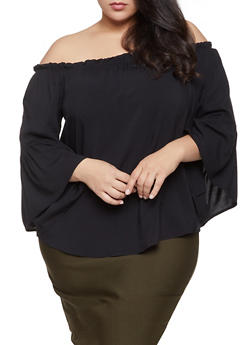 Plus Size Off the Shoulder Bell Sleeve Top - 1803058750485