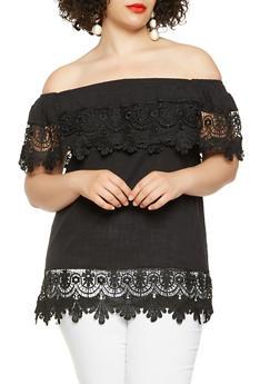 Plus Size Off the Shoulder Crochet Trim Top - 1803058750579