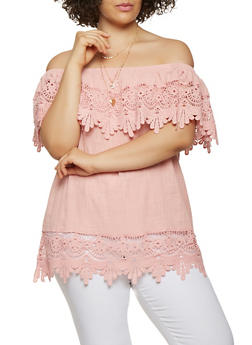 Plus Size Off the Shoulder Crochet Trim Top - 1803058750579