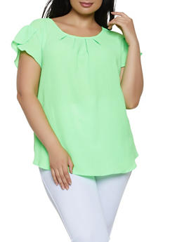 Plus Size Tulip Sleeve Blouse - 1803058750791