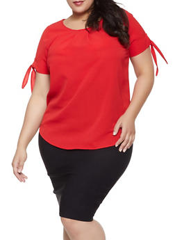 Plus Size Short Tie Sleeve Blouse - 1803058750878