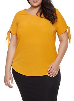 Plus Size Short Tie Sleeve Blouse - 1803058750878