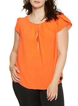 Plus Size Tulip Sleeve Blouse with Necklace - 1803058750894