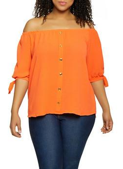 Plus Size Crepe Knit Off the Shoulder Top | 1803058751015 - 1803058751015