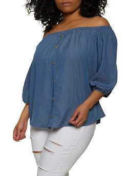 Plus Size Off the Shoulder Button Detail Top - 1803058751853