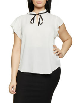 Plus Size Contrast Tie Neck Blouse | 1803058751888 - 1803058751888