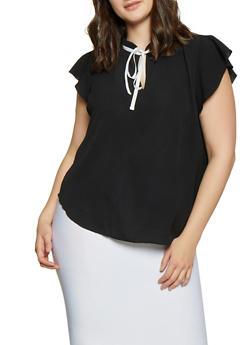 Plus Size Contrast Tie Neck Blouse - Black - Size 2X - 1803058751888