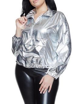 Plus Size Coated Metallic Top - 1803058752074