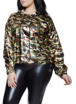 Plus Size Coated Camo Hooded Top - 1803058752076