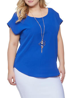 Plus Size Scoop Neck Top with Necklace - 1803058752144