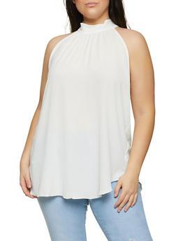 Plus Size Crepe Knit Tie Back Top - 1803058752249