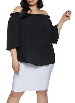 Plus Size Ruffles Crepe Knit Off the Shoulder - 1803058752268